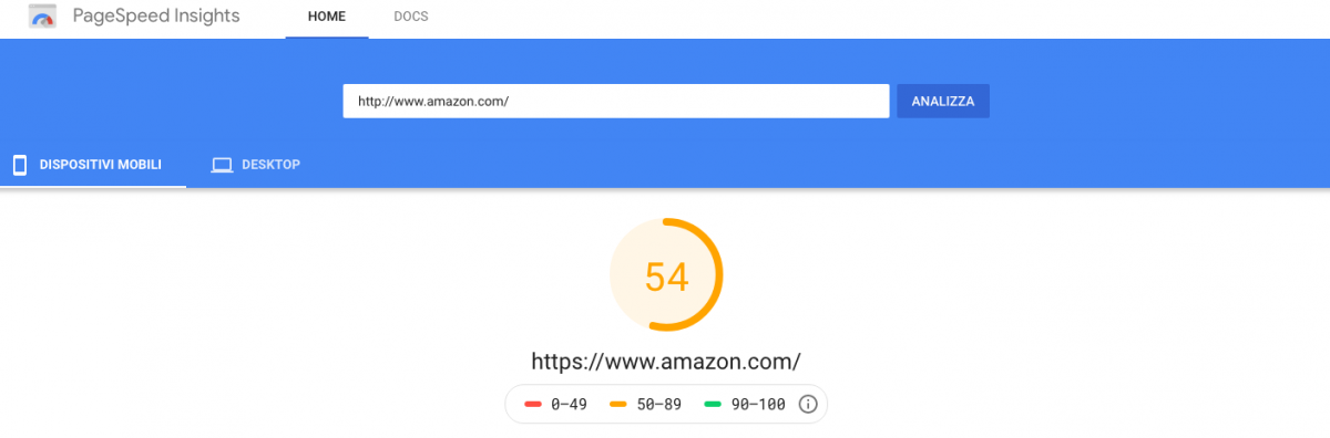 Punteggio Google PageSpeed di Amazon