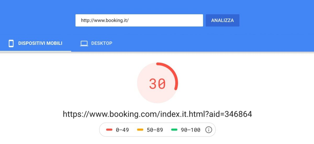 Google PageSpeed fallimento. Esempio Booking