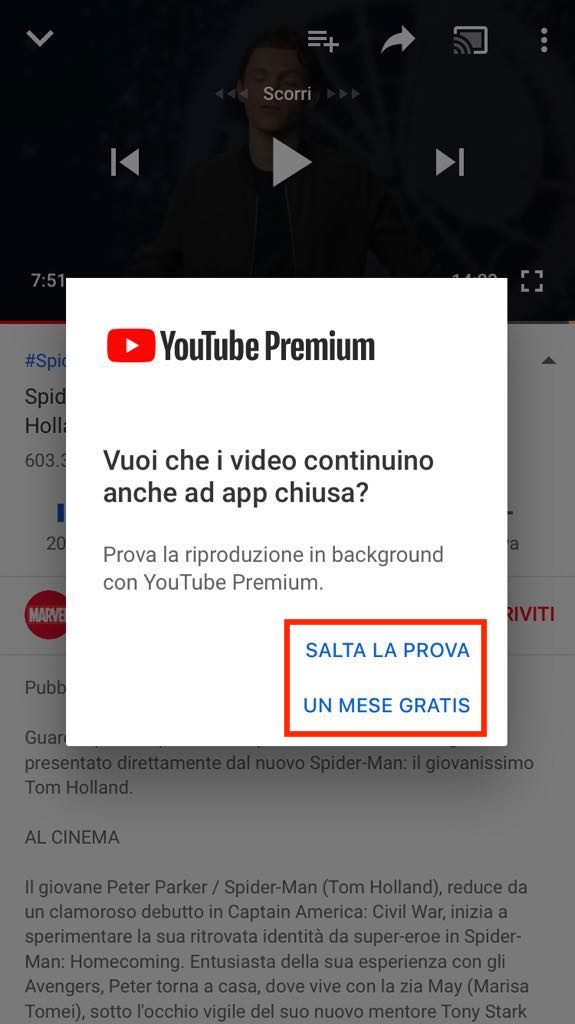 Frasi Call to Action di Youtube: Salta la Prova di un Mese Gratis