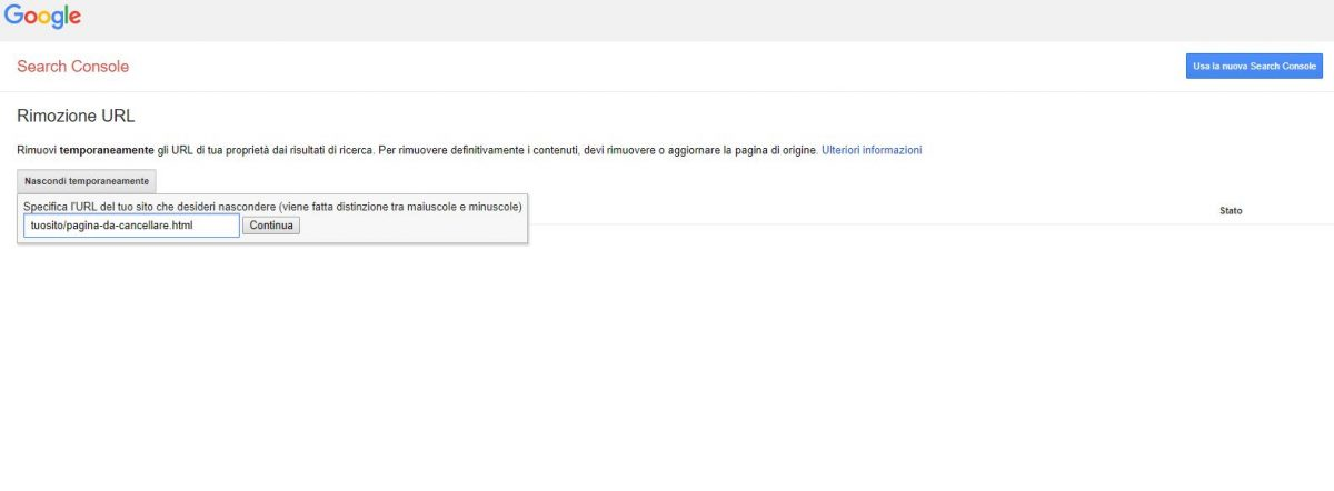 Rimozione Url con Google Search console