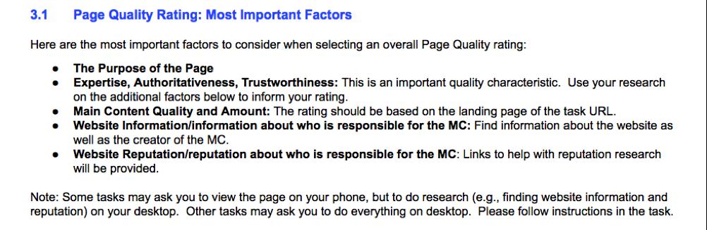 linee guida di Google per i quality Raters nella valutazione dei contenuti