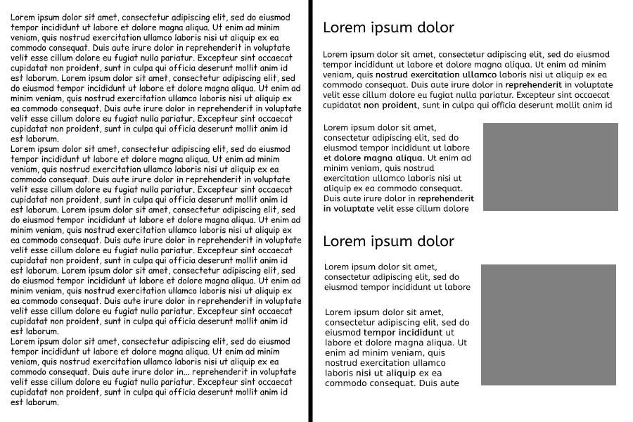 """esempio impaginato con effetto """"muro di testo"""" e impaginato ben organizzato"""