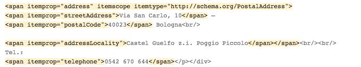 l'aspetto del markup di schema.org nel formato di output Microdati.