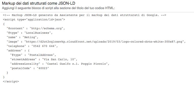 l'aspetto del markup di schema.org nel formato di output JSON-LD