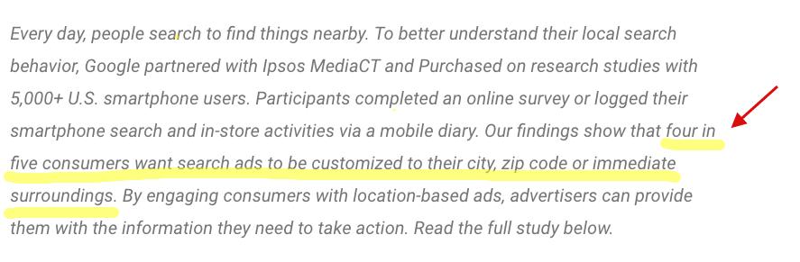 Lo studio di Google dichiara che 4 utenti su 5 desiderano che le ads sulla rete di ricerca siano personalizzate in base alla loro città, CAP o immediate vicinanze
