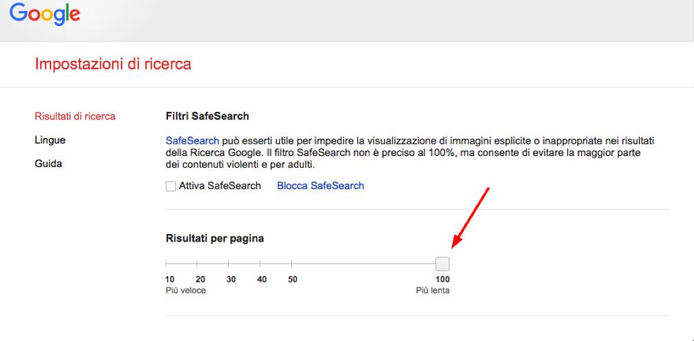 aumentare risultati per pagina Google