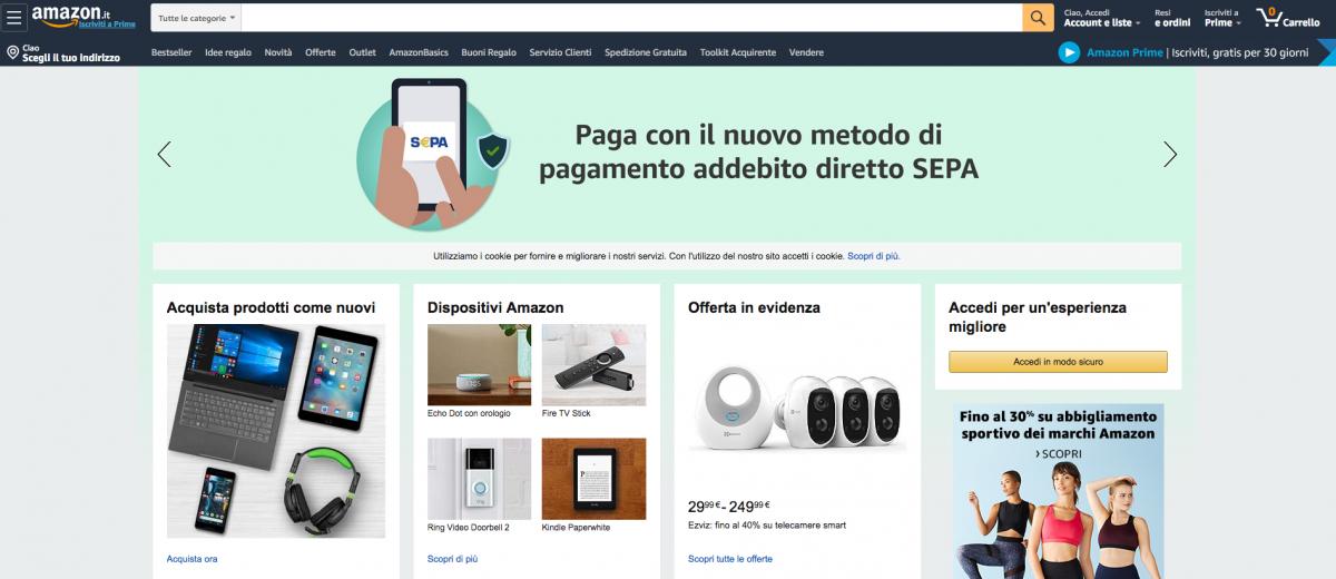 esempio di un ecommerce di successo: Amazon