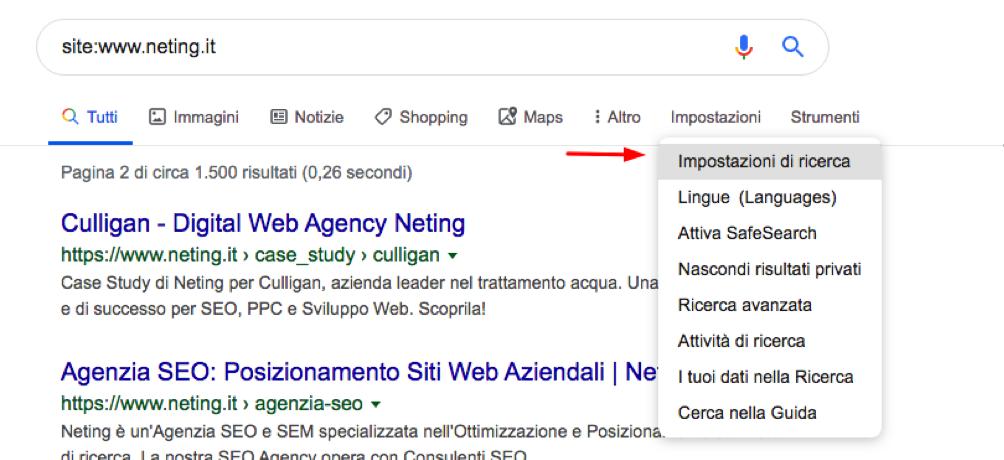 opzioni di ricerca google