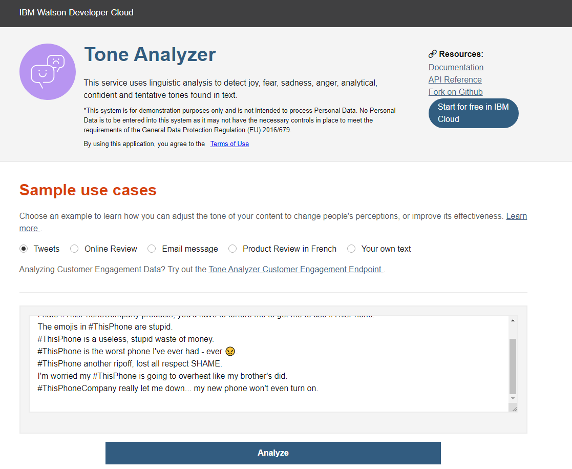 IBM Watson tool per sentiment analysis