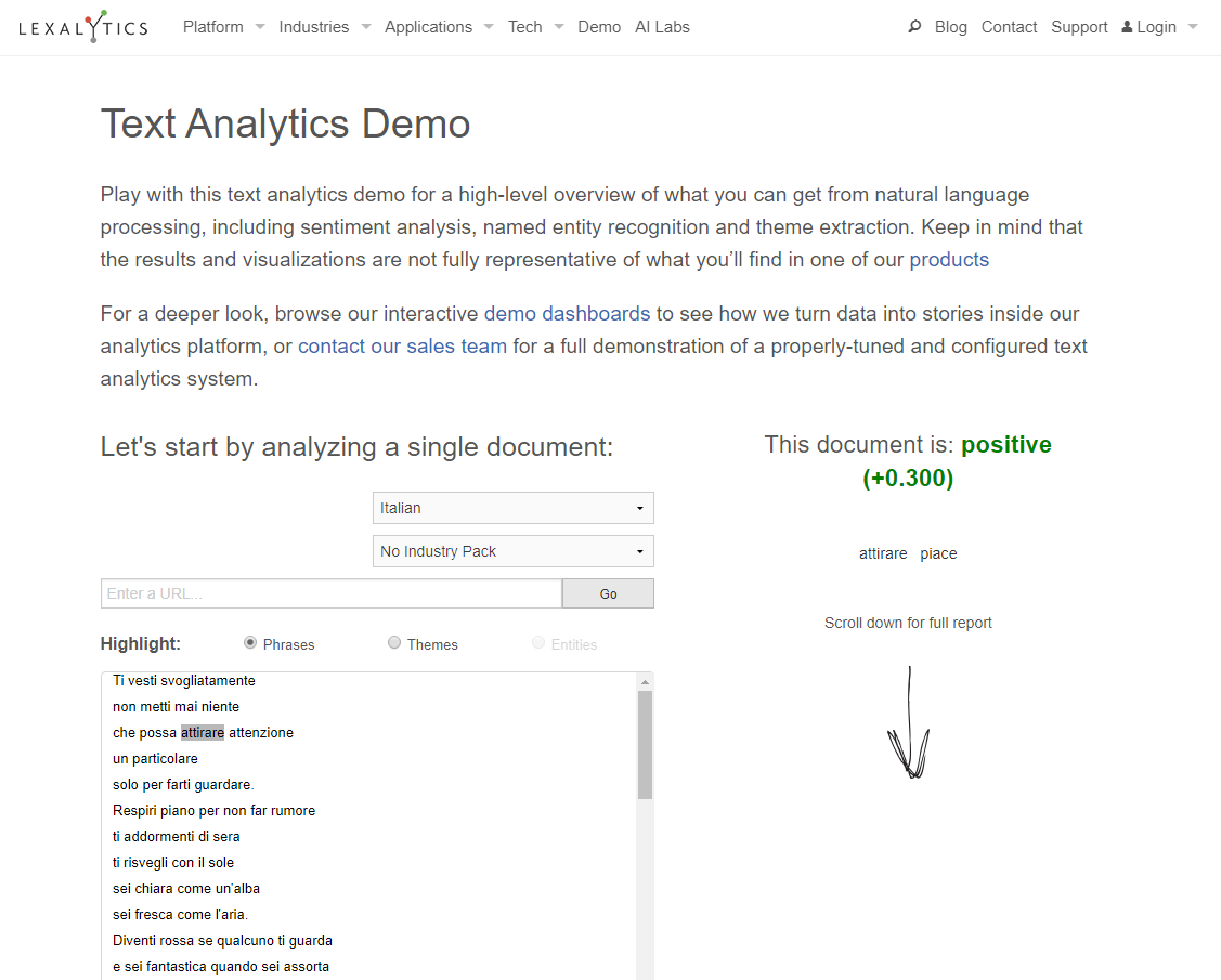 Lexalytics tool per sentiment analysis