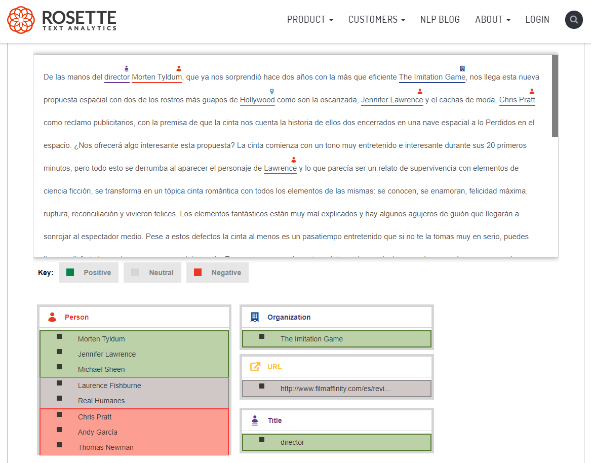 Rosette tool per sentiment analysis