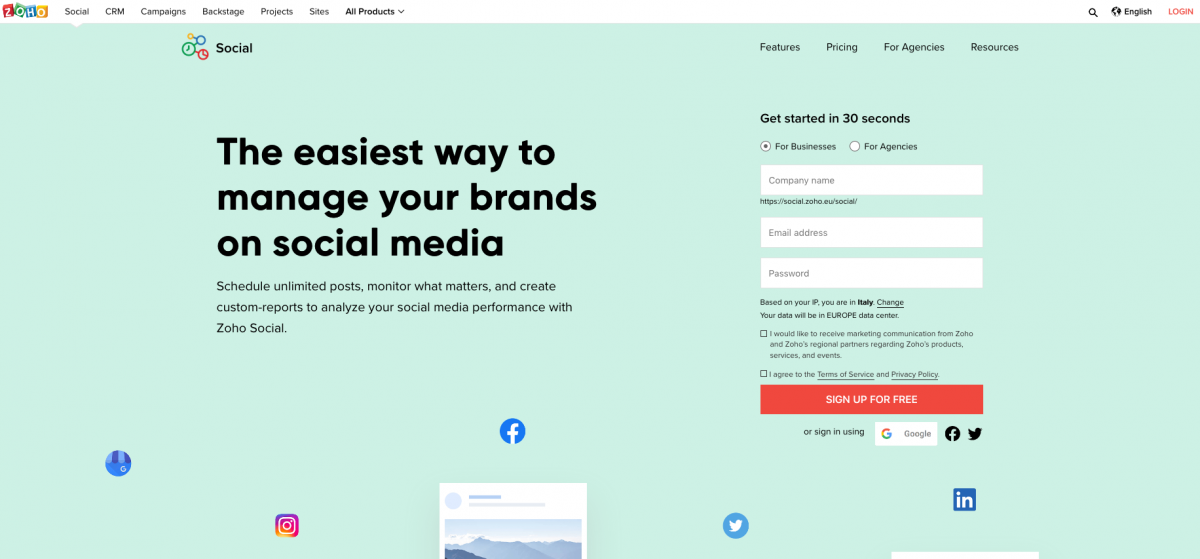 Zoho Social Brand Mention