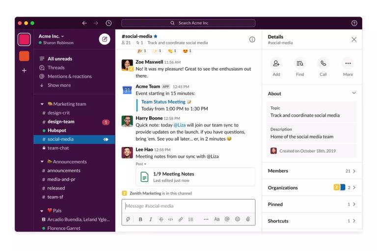 Esempio Slack chat